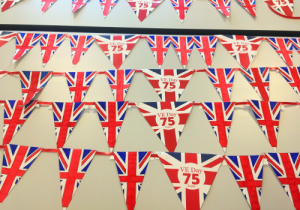 VE Day Bunting made by pupils and staff at Exhall Grange