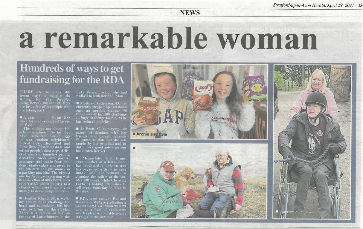 A clipping from the Stratford-upon-Avon Herald, picturing Archie and his sister. They are holding Easter eggs which they have given to neighbours as part of their 100 acts of kindness.